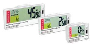 etiquetas de precio digitales conectadas a una base de datos. Precios cambian automáticamente.